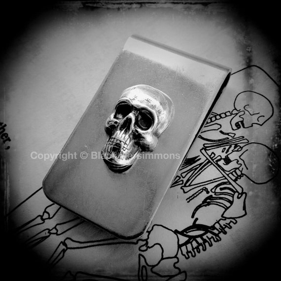 Custo Money Clip - Skull Gothic Victorian - Made in USA findings - 2 Different Skull Finishes