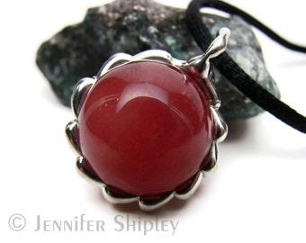 Red Jade Sphere Silver Pendant: Gemstone Ball Healing Orb Nickel-Free Necklace, Handmade Hypoallergenic Unique OOAK Jewelry at DoodlepunkArt