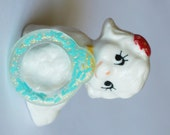 PRE-MADE resin Blythe Pull ring Seafoam teal glitter and candy sprinkles