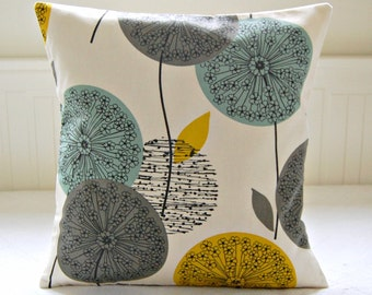mustard teal grey pillow cover, dandelion flower cushion cover 18 inch