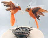 Orange Hummingbird Wedding Cake Topper: Bride & Bride Lesbian Love Bird Cake Topper - 2 Brides