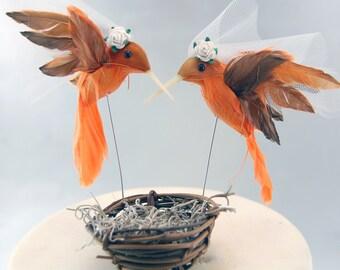 Orange Hummingbird Wedding Cake Topper: Bride & Bride Lesbian Love Bird Cake Topper - 2 Brides