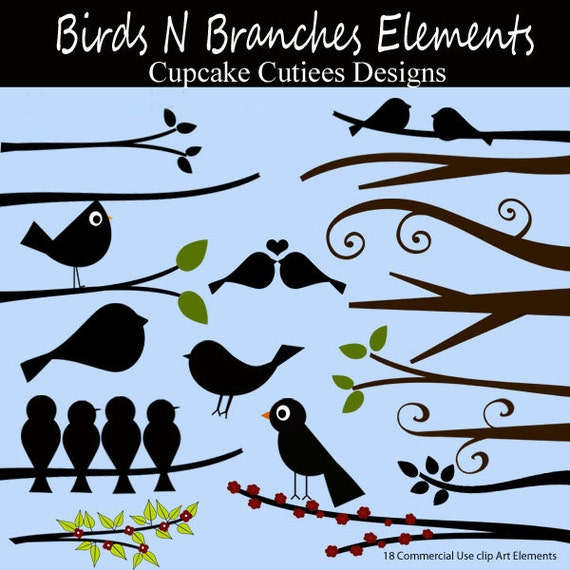 Birds n Branches  Digital Clipart and Papers Elements Commercial use InstAnT DoWnLoAd
