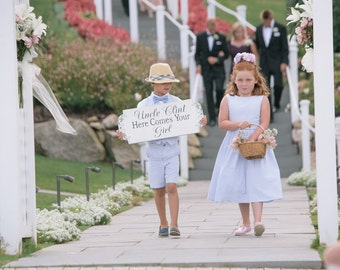UNCLE...Here Comes Your BRIDE / GIRL, Custom 24x10 *Reversible* Thank You - Free Mr & Mrs tags