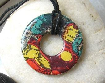 IRON MAN Vintage Upcycled Comic Book Washer Hardware Pendant Necklace Marvel Comics