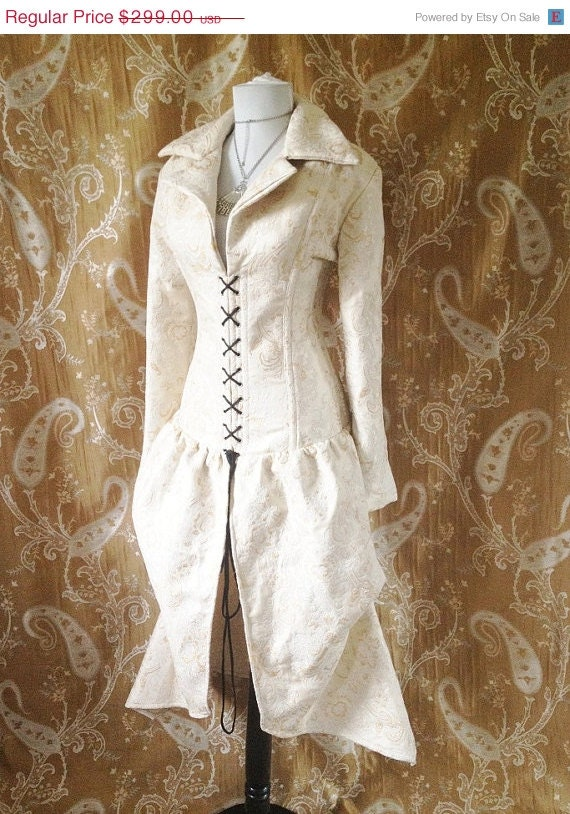 Clearance Sale OOAK Cream brocade steel boned bustle corset coat, valkyrie lace front corset-to fit 32-32 inch natural waist