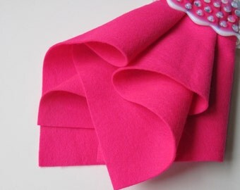 Fuchsia, Wool Felt Square, Choose Size, Felt Sheet, Large Felt Square, Pure Merino Wool, Bright, Neon, Waldorf Handwork, Pink Felt