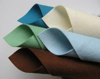 100% Wool, Felt Fabric Set, Sea Glass Color Story, Felt Squares, Beach, Vacation, Seaside, Bottle Green, Dark Brown, Ocean Blue, Aquamarine
