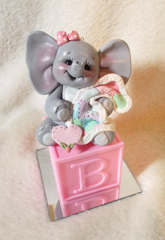 ELEPHANT CAKE TOPPER: elephant baby shower cake topper pink