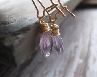 Pink Amethyst on 14k Gold Fill Earrings