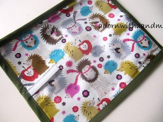 Chalkimamy Michael Miller Hedgehogs TRAVEL chalkboard mat placemat (a)
