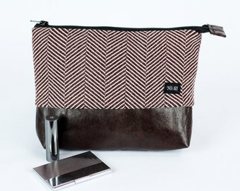 Sale 30% off Herringbone recycled wool and leather  cosmetic case , pouch