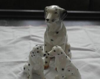 Vintage Collectible Dalmatian Dog Puppies 1950 Ceramic China Black White