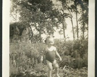Vintage Photograph Adorable Toddler In Bathing Suit In Woods Antique Snapshot Photo