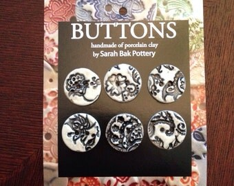 Black and white porcelain buttons, set of 6