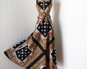 vintage 1960's dress ...best boho chic ELEANOR BRENNER COUTURE 2 piece scarf print cotton cropped peplum top & maxi skirt