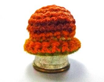 Miniature Doll's Stocking Cap Hat Toque in Autumn Colors