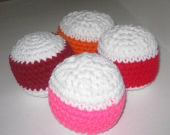 Crocheted Toy Lot Balls Plush Baby Kids Pets Stripes Pink Orange Red White