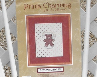Beary Great Day Cross Stitch Embroidery Kit Stamped Teddy Bear