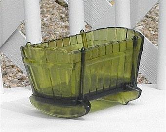 Green Glass Cradle Vintage Vase Candy Dish Vanity Home Decor Nursery