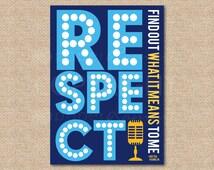 Respect, Aretha Franklin // Music Art Print // Rock and Roll Nursery / Kids Room Giclée Art Print // Classic Rock Art // N-X71-1PS AA1