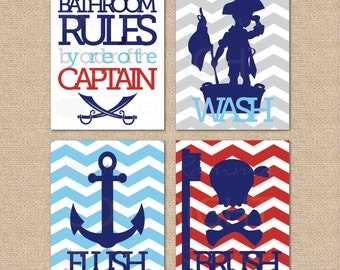 Good Kids Bathroom Art, Bathroom Decor // Pirate Bathroom Art...by Order