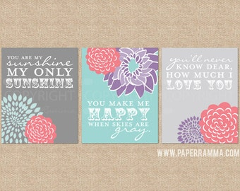 You are My Sunshine Art Prints for Nursery or Kids Room // Set of 3 Giclée Art Prints // N-G03-3PS AA1
