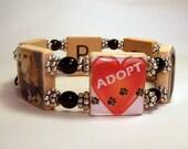 PET RESCUE Bracelet / Adoption / SCRABBLE Handmade Jewelry / Unusual Gifts