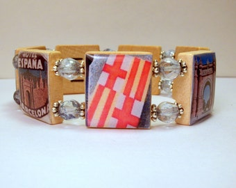 BARCELONA JEWELRY / Spain / SCRABBLE Bracelet / Travel / Upcycled Unusual Gifts