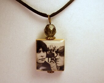 THE MONKEES Pendant / Davy Jones & Peter Tork / UPCYCLED Scrabble Jewelry / Beaded Charm / Necklace