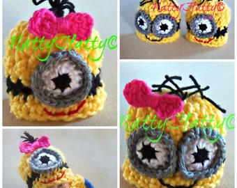 Despicable Me Minion For Girl  Crochet Hat and bow, Minion Halloween costume, Despicable me minion baby costume