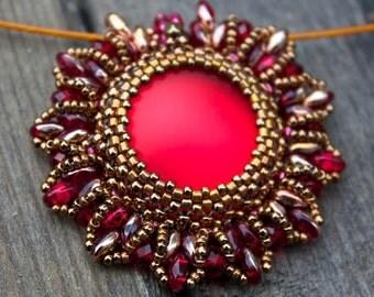 TUTORIAL - Super Nova, beaded pendant with Super Duo beads