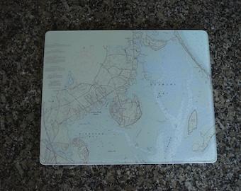 Nautical Chart Glass Cutting Board