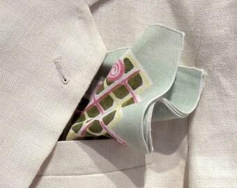 Groom Handkerchief Set, Vintage Pocket Squares, Groomsmen Pocket Squares, Green Pocket Squares, Vintage Wedding Handkerchiefs, Set of 5