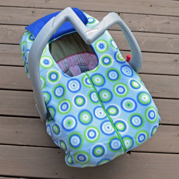 infant car seat cover for winter blue and green bullseyes. Black Bedroom Furniture Sets. Home Design Ideas