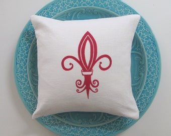 Pillow Cover Cushion Cover - Fleur de Lis - 12 x 12 inches - Choose your fabric and ink color - Accent Pillow