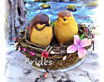 Love Birds Wedding Cake Topper, Bird Nest Cake Topper, Woodland Wedding Cake Topper, Fall Weddings