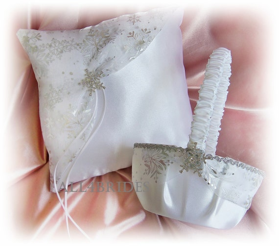 Snowflake flower girl basket and ring bearer pillow, winter weddings ceremony decor