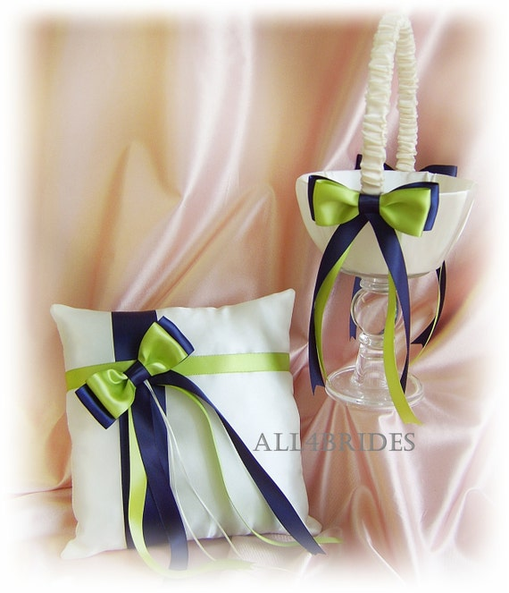 Navy Blue and Green Wedding Flower Girl Basket  and Ring Bearer Pillow, Wedding Ceremony Decor