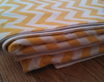 Waterproof Baby Play Mat or PICNIC BLANKET - 60 x 80 - Yellow Chevron