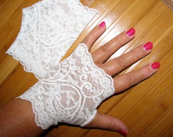 Sheer White Delicate Lace Fingerless Gloves Arm Warmers, Wedding, Vampire Goth