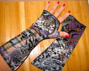 Reversable Black and White Stripes or Midnight Black Purple Victorian Tartan Paslie mid wrist  Fingerless Gloves Arm Warmers