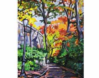 NYC Painting New York Art The Cloisters NYC Art Wall Decor  Autumn  Fine Art Print  8x10,  Cityscape  Painting by Gwen Meyerson