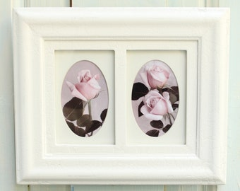 Pink Rose Photos, Four Roses, Reclaimed Crackle Frames in Vintage White, Oval Mats