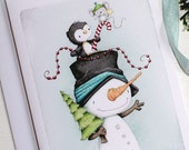 "greeting card - card - christmas - penguin - snowman - mouse - star - candy cane - tree - illustration - ""JOLLY TRIO!"""