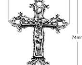 6 Large Fleur de Lis Cross Charms, Antique Silver, 4220AS