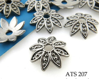 14mm Gunmetal Bead Cap Flower Bead Cap Antiqued Pewter Bead Cap (ATS 207) 20 pcs BlueEchoBeads