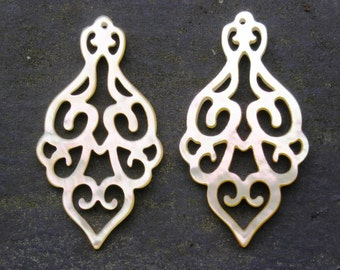 "BEST SELLER Pair Cut Out Chandelier Earring Carvings 43mm 1 3/4"" Yellow South Sea Mother of Pearl Shell"