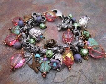 Fairy Meadow Charm Bracelet in Antique Silver and Vintage Brass, MartaWeaverJewelry