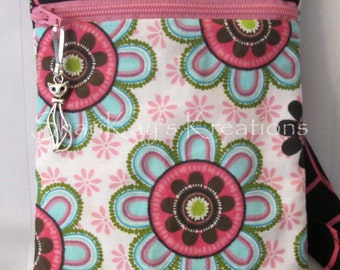 SALE - Pink & Black Floral Hipster Purse with Shoulder Strap and Zipper Pull